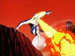 Silver Surfer Blasts Lava Rock