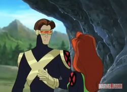 Scott talks to Jean in a cave XME