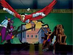 Falcon Protects Hawkeye Tigra From Falling Glass