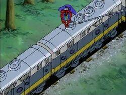 Spider-Man Swings Off Train