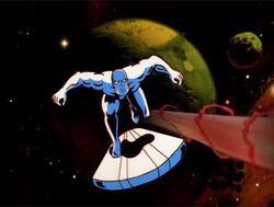 Silver Surfer Chases Morovus Cannon Blast