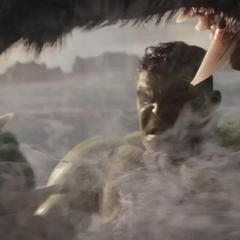 Hulk y Fenris luchando en el mar.