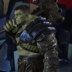 Hulk a punto de ir a entrenar con Brunnhilde.