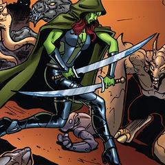 Gamora enfrenta a todos los forajidos.