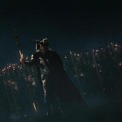 Odín y su ejército llegan para detener a los Gigantes de Hielo.