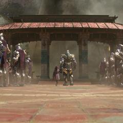 Gamora es separada de su gente por Thanos.