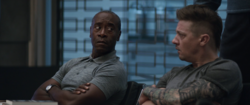 Rhodey and Barton listen to Thor