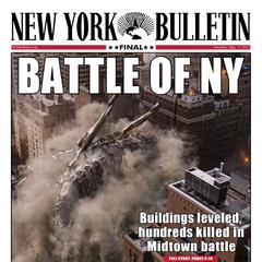 Portada del <i>New York Bulletin</i> acerca de la Batalla de Nueva York.