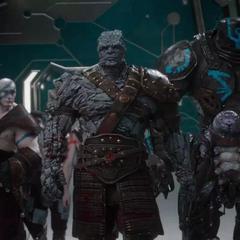 Korg y los gladiadores llegan al hangar del Gran Maestro.