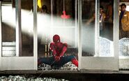 Spider-Man holding the Elevator