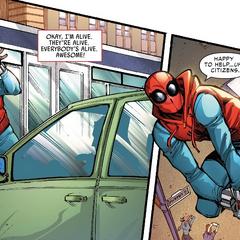 Parker se asegura de que todos en el automóvil estén bien.