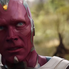 Visión preocupado de la llegada de Thanos.