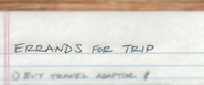 Errands For Trip - Peter's To-Do List