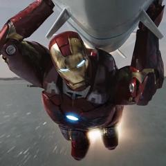 Stark dirige el misil hacia el centro de comando de los Chitauri.