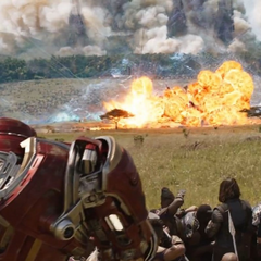 Los Vengadores y wakandianos en el campo de batalla.