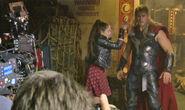 Elizabeth Olsen and Chris Hemsworth on set on Avengers Age of Ultron