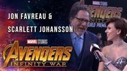 Scarlett Johansson and Jon Favreau Live at the Avengers Infinity War Premiere
