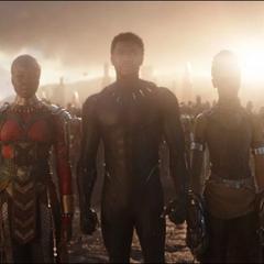 T'Challa llega con Shuri y Okoye a la Batalla de la Tierra.