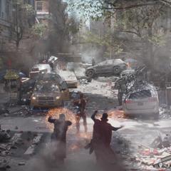 Stark protege al equipo de los ataques.