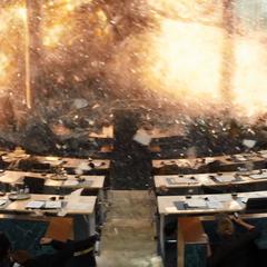 La ceremonia es interrumpida por una explosión.