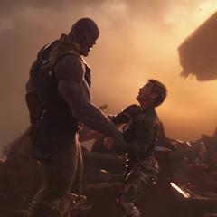 Stark es vencido por Thanos.
