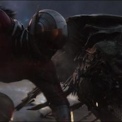 Lang derriba a un Leviatán durante la batalla.