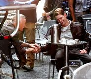 Stan Lee and Chris Evans on the set of The Avengers photo 02