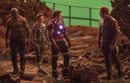 Iron Man, Star Lord, Spider Man and Drax BTS