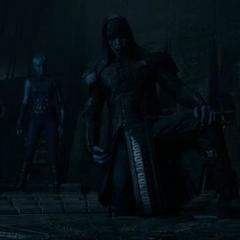 Ronan antes de comenzar su reunión con Gamora y Nebula.