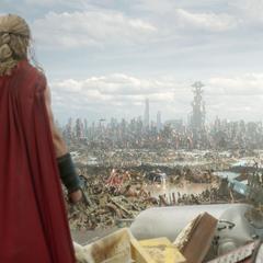 Thor luego de haber aterrizado en Sakaar.