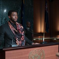T'Challa hace su declaración frente a los senadores.