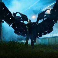 Toomes se pone su traje para ir tras el avión de Stark Industries.
