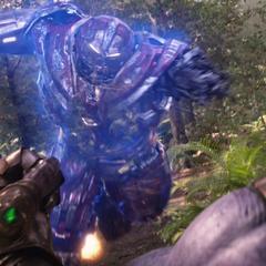Thanos hace intangible a Banner en la armadura Hulkbuster.
