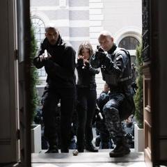 Johnson, Mackenzie y Banks durante la misión.