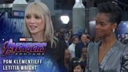 Letitia Wright and Pom Klementieff talk filming LIVE from the Avengers Endgame Premiere