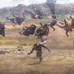 T'Challa lucha contra la Tribu Fronteriza.