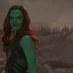 Gamora antes de abandonar el campo de batalla.