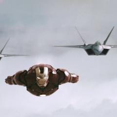 Stark es interceptado por los Raptors F-22.