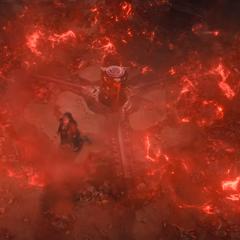 Wanda elimina a los Centinelas de Ultrón a su alrededor.