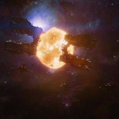 La nave nodriza Chitauri es destruída.