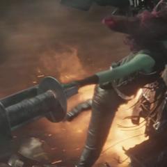 Gamora sostiene la soga de Drax.