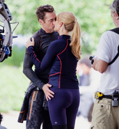 Robert Downey Jr. and Gwyneth Paltrow on the set of Avengers 4 kiss