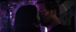 Star-Lord kisses Gamora