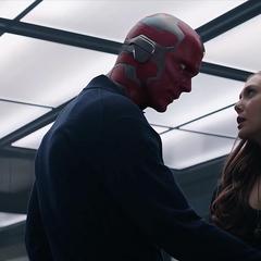 Visión evita que Maximoff abandone el Centro de los Nuevos Vengadores.