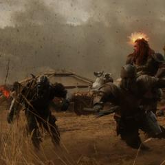 Volstagg lucha contra los Merodeadores.