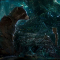 Rocket repasa el plan con Groot.