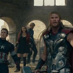 Los Vengadores le hacen frente a Ultrón.