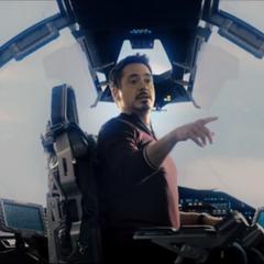 Stark dirige el Quinjet a la Torre de los Vengadores.