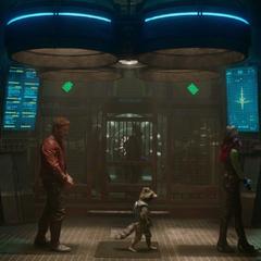 Quill, Gamora, Rocket y Groot llegan al Kyln.