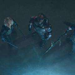 Rogers, Romanoff y Wilson ven a la Orden Oscura huir.